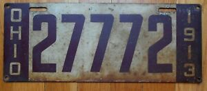Original Vintage 1913 Ohio Steel Painted License Plate No. 27772 Brown and White