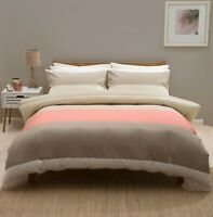 100% Brushed Cotton Check Modern Striped Duvet Set in Coral & Cream King Size