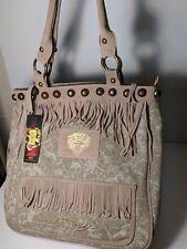 "New! ED HARDY Purse Handbag Women ""FINLY"" Suede / Canvas Beide BOFIN6204 $300.00"