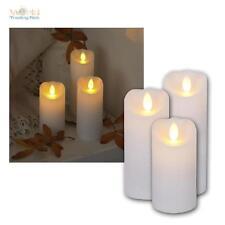 Kerzen aus Echtwachs mit bewegter LED Flamme Wachs Kerze flammenlos flackernd