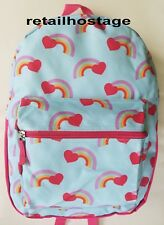 """15"""" Kids Rainbow Hearts Backpack Pre School Toddler Book Bag Tote Preschool"""