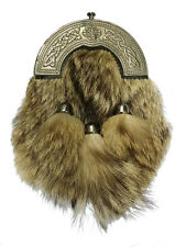 Men's Scottish Kilt Sporran Fox Fur Celtic Thistle Cantle Antique/Kilt Sporrans