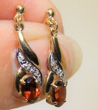 9ct 9 CARAT YELLOW GOLD OVAL CUT  GARNET & DIAMOND DROP STUD EARRINGS