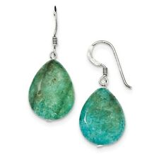 925 Sterling Silver Small Crack Aventurine Turquoise Tear Drop Earrings; 34 mm