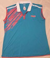 Adidas Golf Women's Sleeveless Collared Shirt Bllue Pink Size Large EUC
