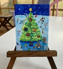 """ACEO ORIGINAL By PJR Miniature painting """"Christmas In The forest"""" Collectible"""