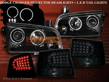 06 07 08 DODGE CHARGER TWO HALO CCFL LED PROJECTOR HEADLIGHTS + LED TAIL LIGHTS