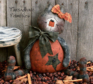 PATTERN Primitive Raggedy Halloween Black Cat Pumpkin Doll FREE SHIPPING TBP
