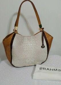 Brahmin Marianna TOTE SHOULDER PURSE BAG KEDIMA Coconut  Croco Embossed Leather