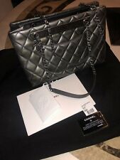 Chanel Shopper Quilted Dark Grey Gray Silver Metalic Used Dust Bag Tote Leather