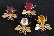 4 CINI STERLING SILVER BEE BROOCHES - ROSE PURPLE CRYSTAL AMBER