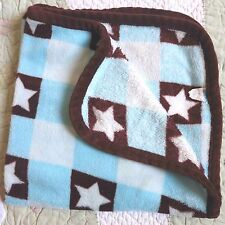 Babies' Alley Blue w Brown Stars Polyester Plush Baby Boy Blanket Euc