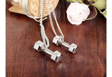 New Charm Men Unisex Titanium Steel Barbell Dumbbell Pendant Necklace Gym Sports