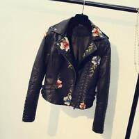 Womens Ladies Floral Embroidery Biker Jacket Hollow Faux Leather Ladies Zip Coat