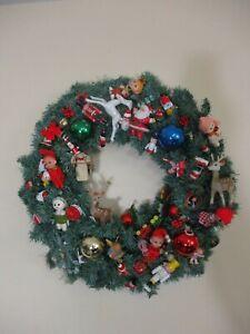 Vintage Large Retro Christmas Ornaments Wreath ,Elf, Deer, Pixie's Figures Japan