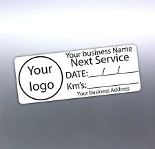 Next Service custom sticker your address, Logo and business name 65x25mm car oil