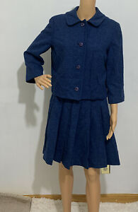 Pendleton Vintage Wool Skirt Suit Cropped Blue Jacket Womens Size 12