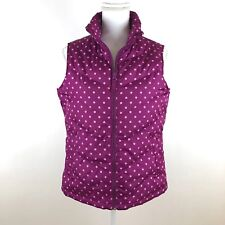 Lands End Womens Down Puffer Vest Size S 6-8 Pink Polka Dot
