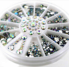 5 Sizes White Rhinestones Mixed Acrylic 3D Nail Art Tip Decoration Glitter Wheel