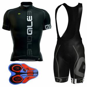 New Mens Team Cycling Clothing Short Sleeve Polyester bike Jersey Bib Shorts Kit