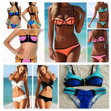Women Lady Bandage Swimwear Push-Up Padded Bra Top Bottom Beach Suit Bikini Set