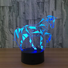 3D Horse Lamp 7 Color LED Visual Night Light Touch Bottom Home Gift For Sleeping