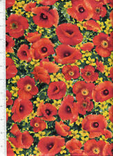 brilliant scarlet  ~ THE WIZARD OF OZ FIELD OF POPPIES ~ fabric poppy