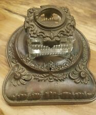 Antique Victorian W Sch & Co Inkwell pat 1899 Hoboken NJ evil devil man face