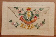 Circa WW1 Silk Embroidered Postcard - RAMC Royal Army Medical Corps