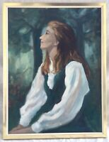 Vintage Framed Original Oil Painting, Young Red Headed Woman Signed S. Pimstein
