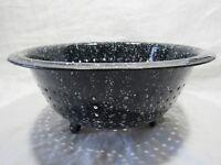 """Vintage Graniteware Enamelware Blue Speckled Strainer Colander 10-3/4"""" AgateWare"""
