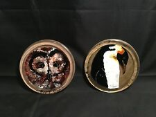 Barn Owl & Penguin Art Designs – 2 Pieces Set of Hand-painted Glass Coasters