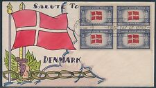 """#920  BLOCK OF 4 ON MAE WEIGAND """"DENMARK"""" HAND PAINTED FDC CACHET BT8456"""