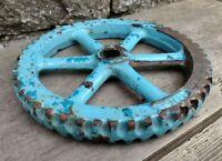 Vintage Cast Iron Blue Valve Wheel - Fab Doorstop!