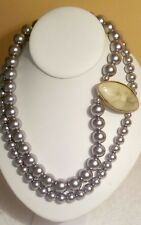 DOUBLE STRAND GRAY GLASS BEAD NECKLACE SIDEPIECE PENDANT HOOK CLASP.