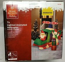 Gemmy Holiday Christmas Airblown Inflatable Animated Helicopter w/ Santa Snowman