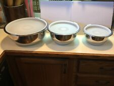 """Set 3 Wolfgang Puck Cafe Collection Stainless Steel Bowls/Lids. 7"""" 9"""" & 12"""""""