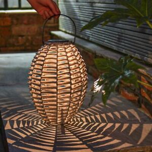 Solar Power Outdoor Garden LED Grey Rattan Lantern Light | Traditional Hanging