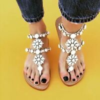 Gladiator Women Summer Flat Flip Flops Rhinestone Boho Beach Sandals Strap Shoes