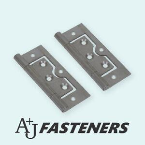 2 x FLUSH HINGES SELF COLOUR STEEL - 40/50/60/75mm FURNITURE DOOR CABINET