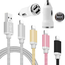 Fast Charge USB Data Sync Cable & Dual Car Charger for iPhone X 8 7 6s 6 5s 5c 5
