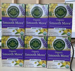 6 Medicinals Organic Smooth Move Tea Original Senna 96 Bags Laxative EXP 8/2023