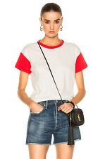 NWOT RAG & BONE WOMEN´S COLORBLOCKED VINTAGE CREW S/S TEE T-SHIRT WHITE & RED