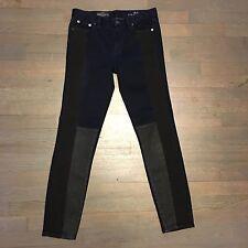 J. Crew Mid Rise Skinny Toothpick Jeans 26 Dark Blue Black Gray Leg Patches