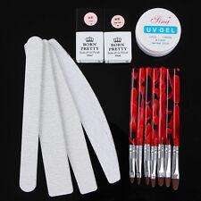 Nail Art Sanding File Buffer UV Gel Brushes & Base UV Gel Top Coat Builder Tips