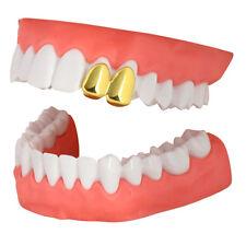 2 Teeth Cap Custom Fit 14k Gold Plated Hip Hop Grillz w/Mold Grill