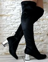 LADIES BLACK OVER THE KNEE THIGH HIGH BOOTS ZIP UP BLOCK HEEL SHOES BOOTS SIZE 3