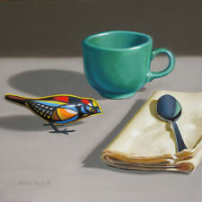 DANFORTH Toy Bird With Teal Cup 8x8 still life realistic oil painting