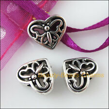 6Pcs Tibetan Silver Tone Heart Animal Butterfly Spacer Beads Charms 10x12mm
