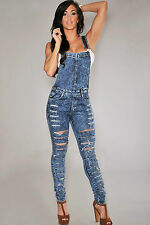 Salopette pantaloni Jeans tagli aderente Tagli Destroyed Denim Fitted Overall L